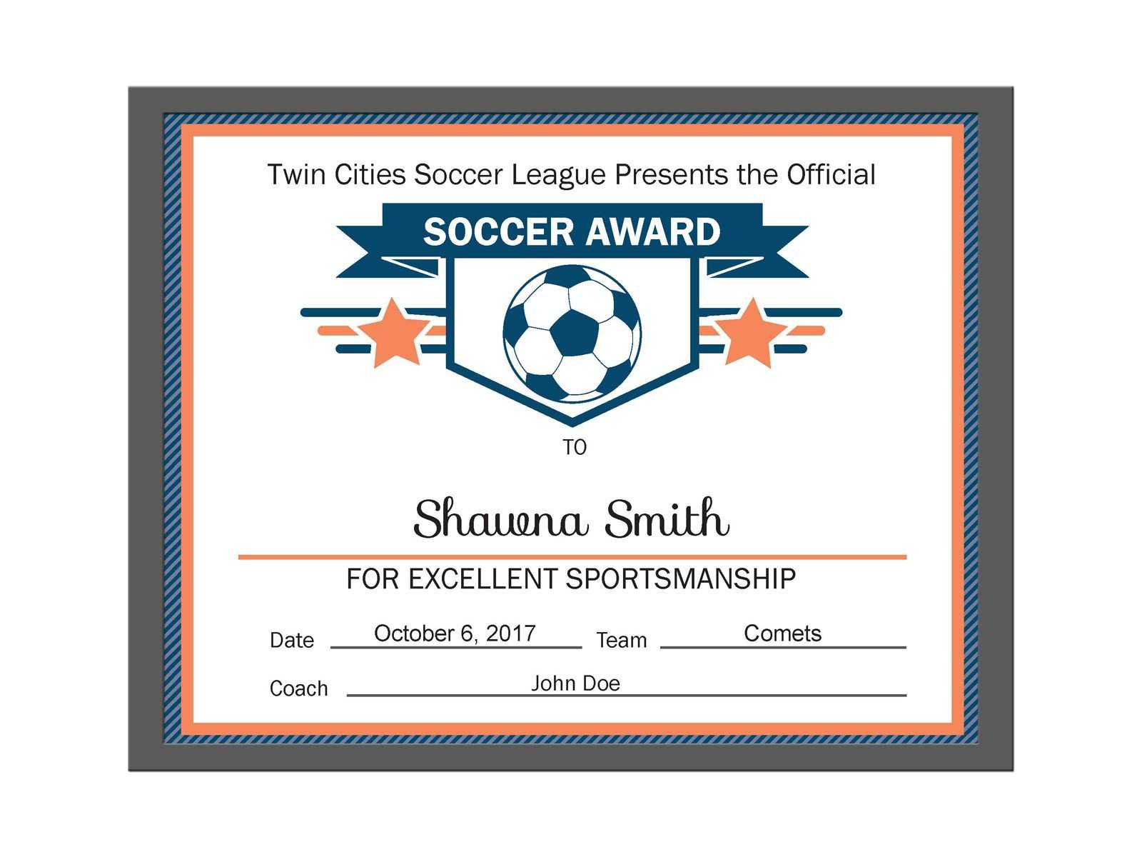 Editable Pdf Sports Team Soccer Certificate Award Template inside Soccer Certificate Template