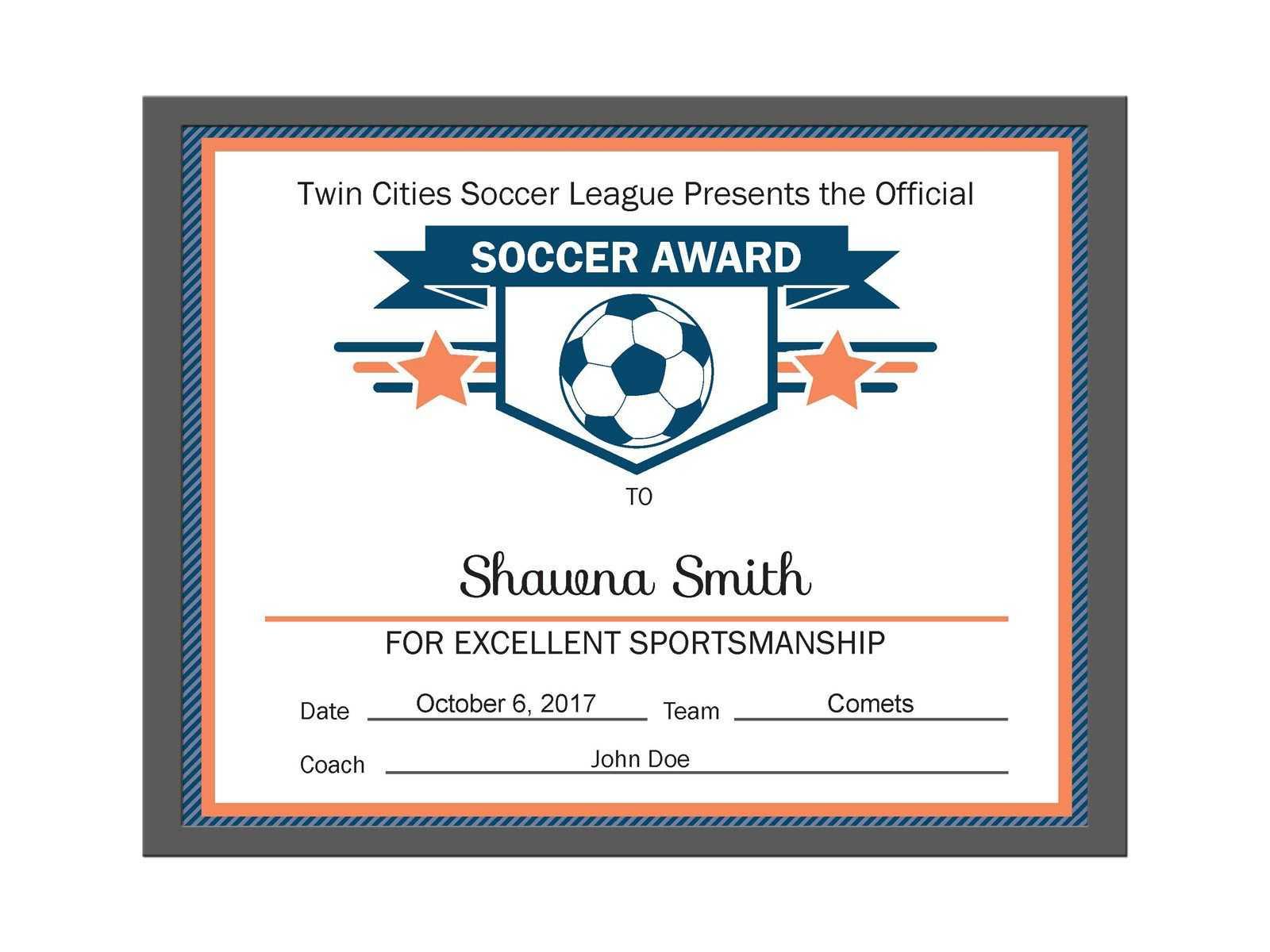 Editable Pdf Sports Team Soccer Certificate Award Template inside Softball Certificate Templates Free
