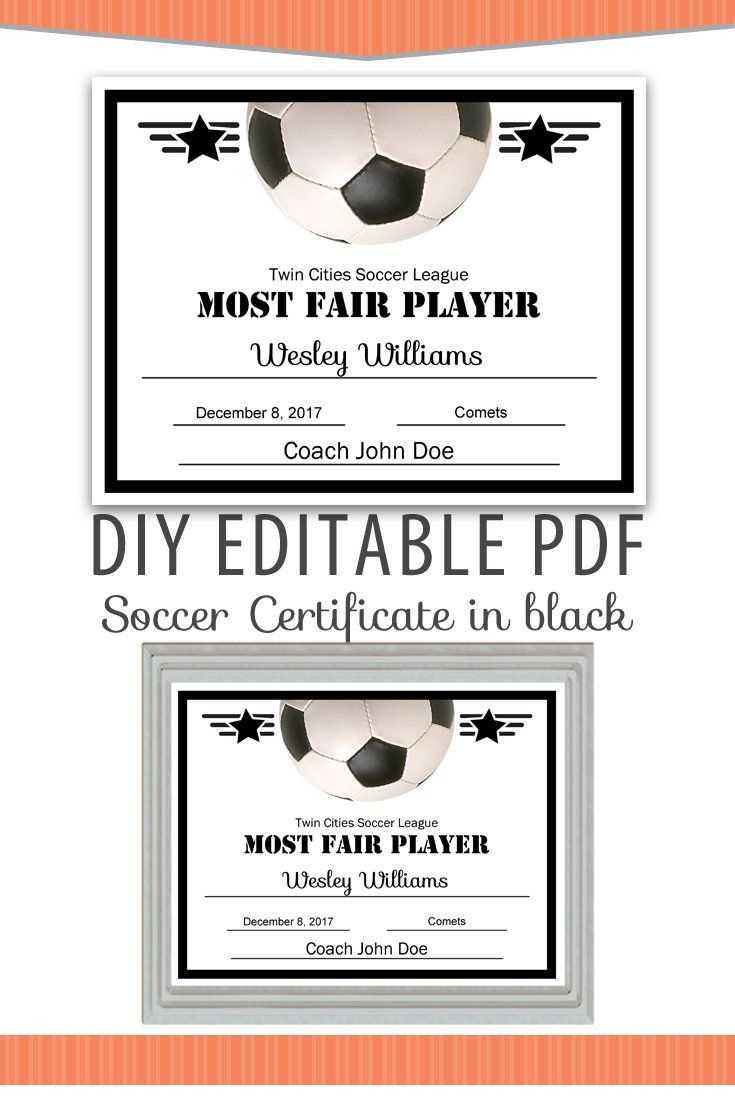 Editable Pdf Sports Team Soccer Certificate Diy Award in Softball Certificate Templates Free