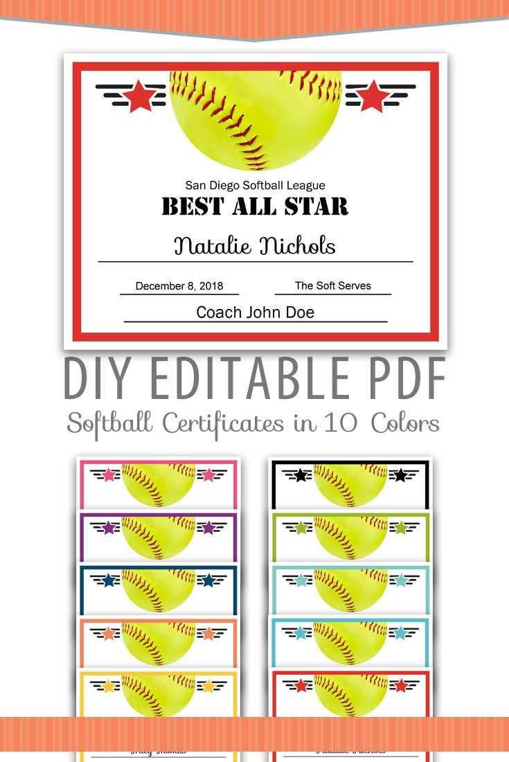 Editable Pdf Sports Team Softball Certificate Award Template In Softball Certificate Templates Free
