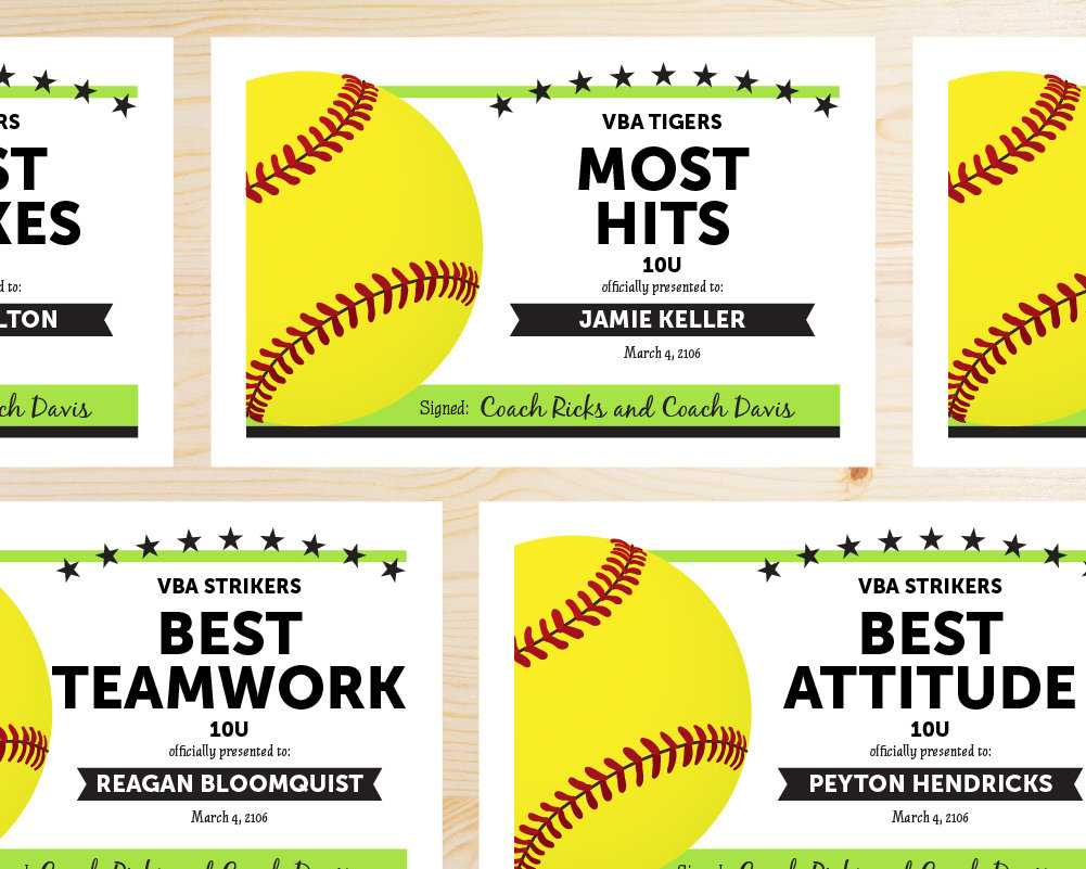 Editable Softball Award Certificates - Instant Download Printable - Lime  Green And Black inside Softball Certificate Templates Free