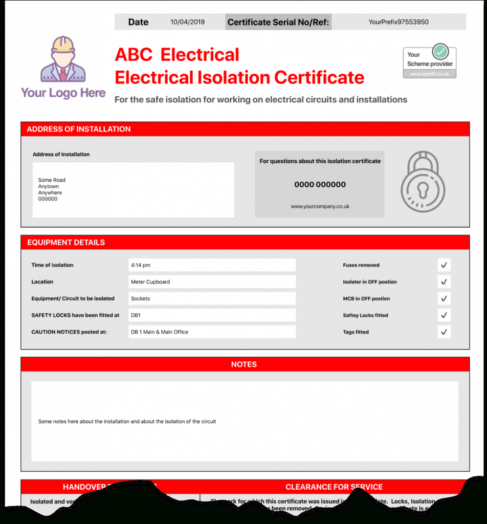 Electrical Isolation Certificate   Send Unlimited Intended For Electrical Isolation Certificate Template