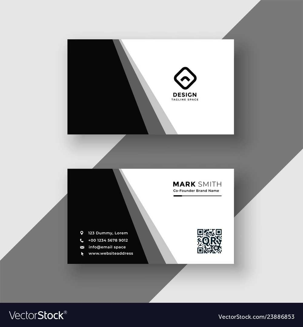Elegant Black And White Business Card Template With Black And White Business Cards Templates Free