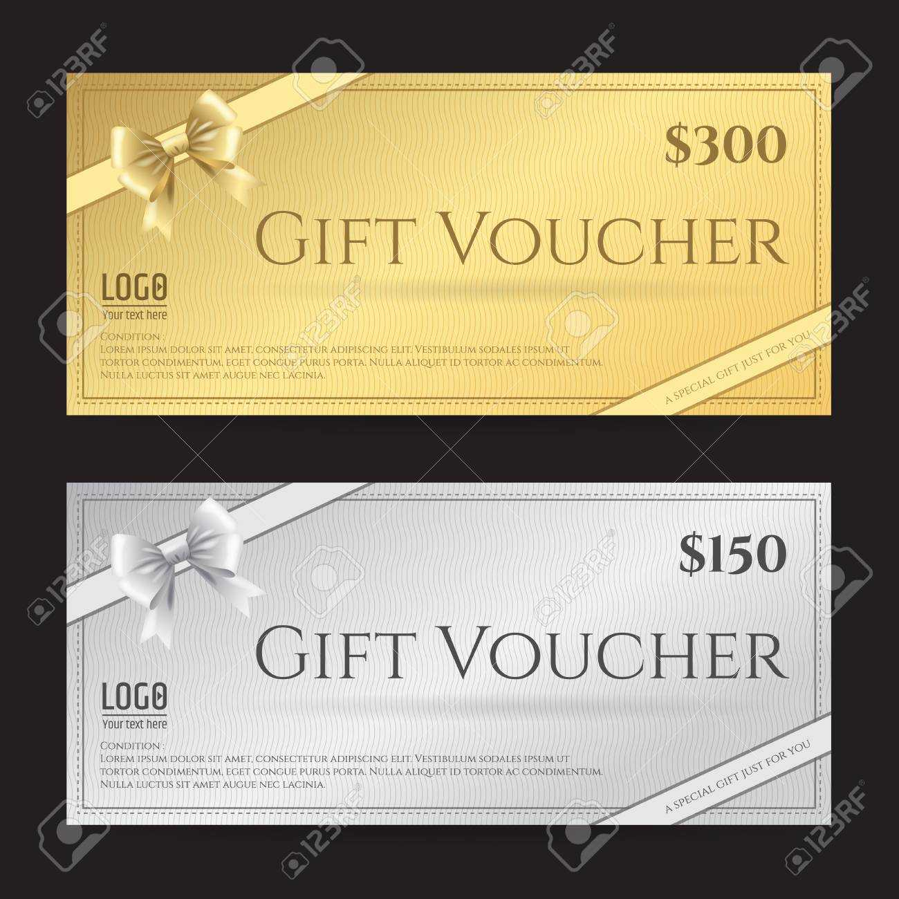 Elegant Gift Card Or Gift Voucher Template With Shiny Gold And.. Within Elegant Gift Certificate Template