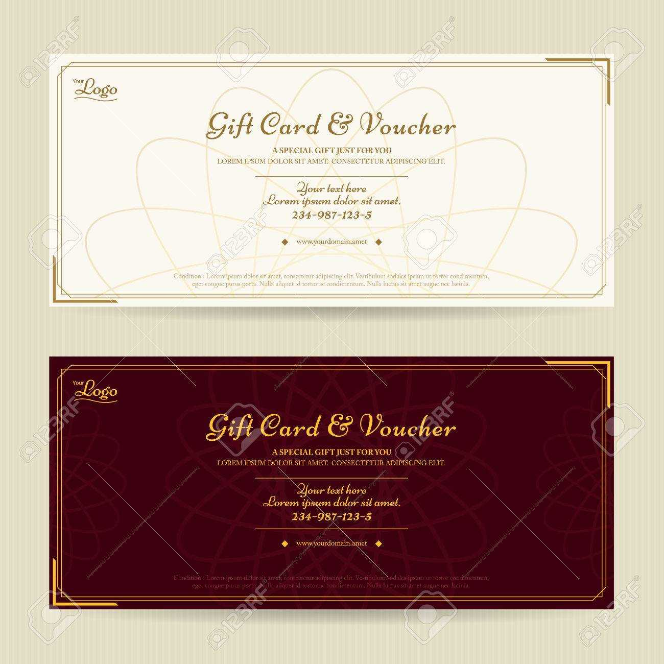 Elegant Gift Voucher Or Gift Card Template With Gold Border Regarding Elegant Gift Certificate Template