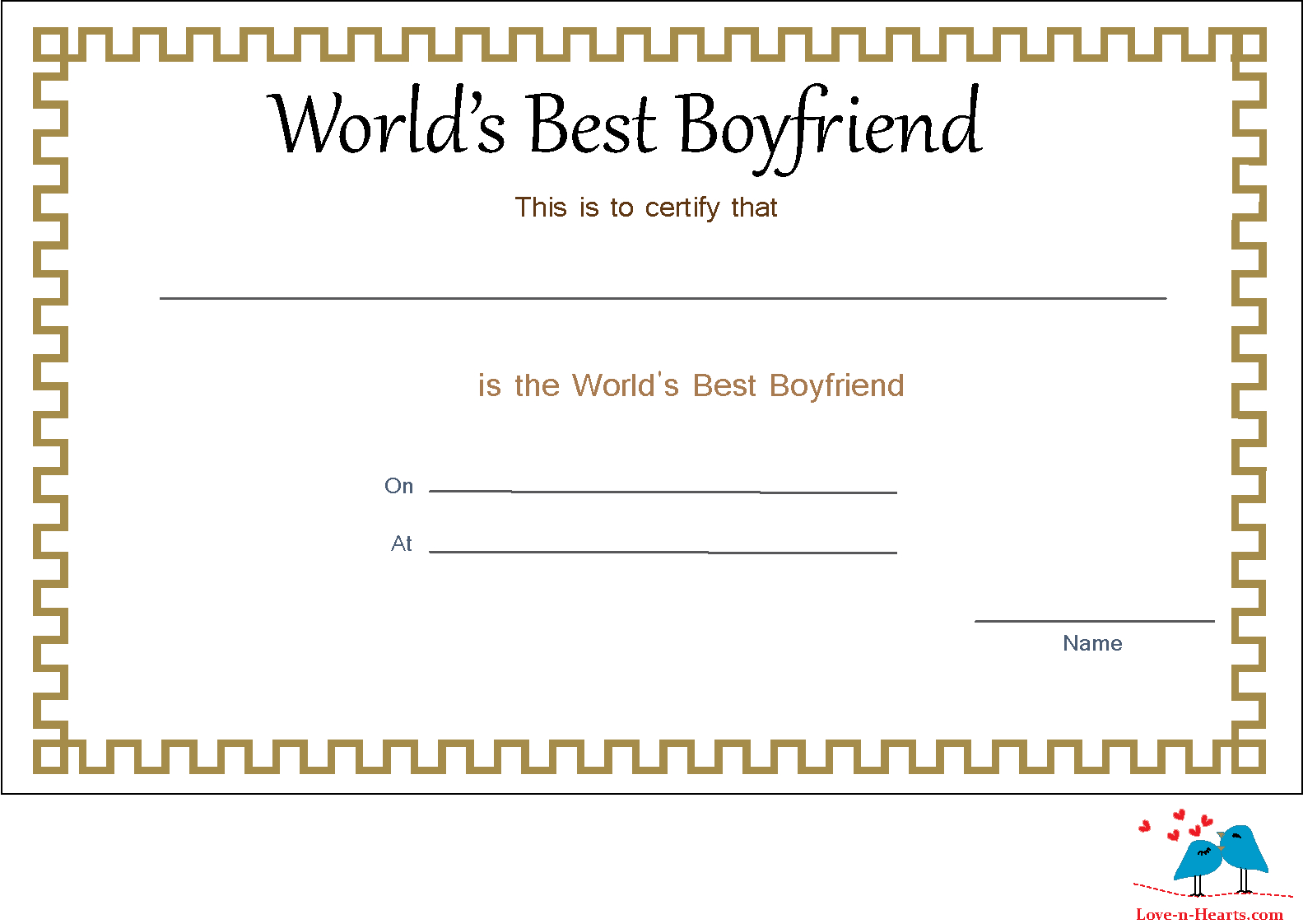 Elegant World's Best Boyfriend Certificate | Love You intended for Love Certificate Templates