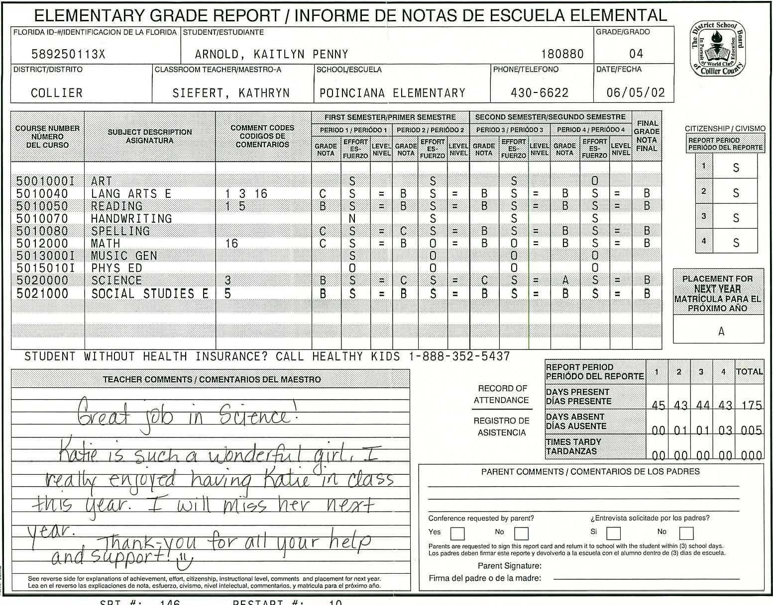 Elementary School Report Card Template   Report Card throughout Soccer Report Card Template