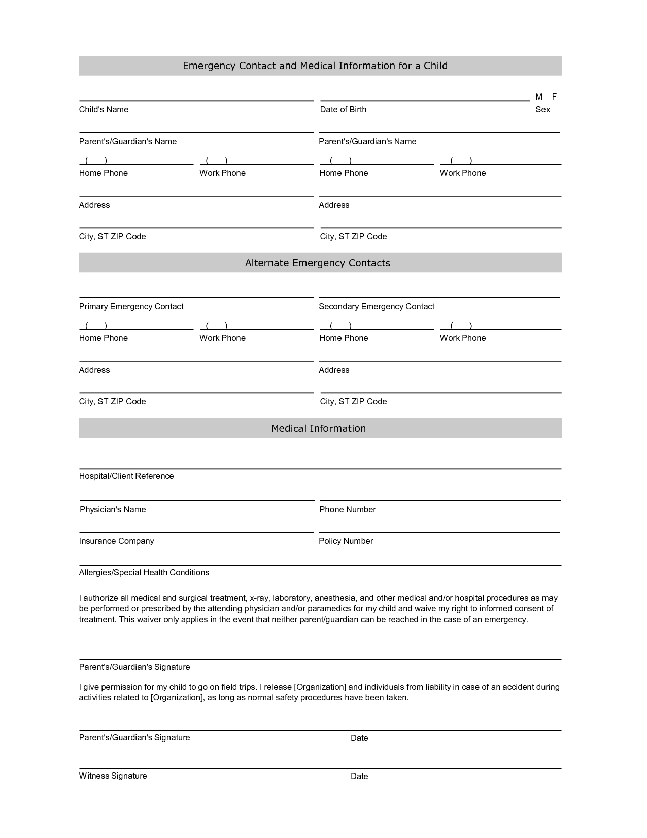 Emergency Contact Information Form Template | Emergency Within Student Information Card Template