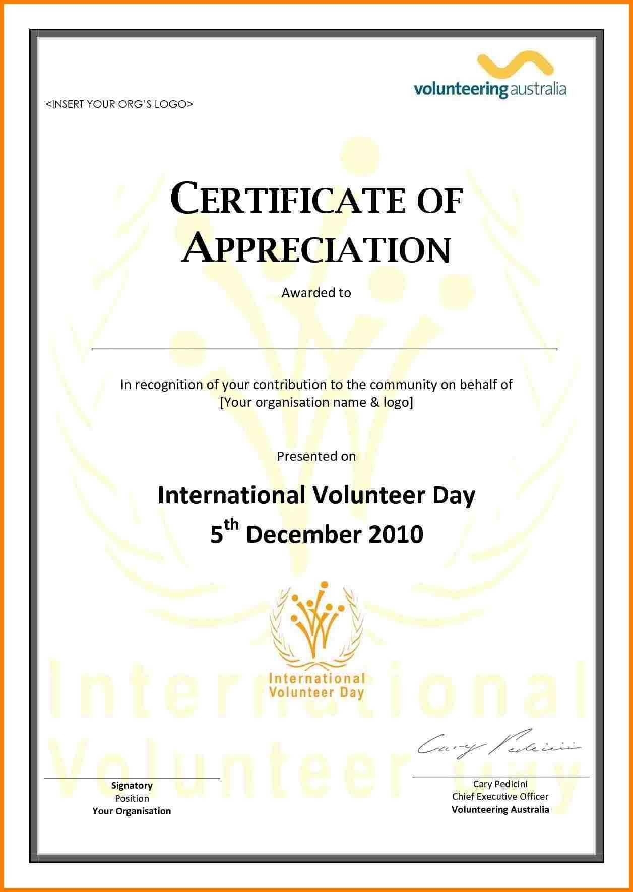 Employee Appreciation Certificate Template Free Resume inside Volunteer Certificate Template