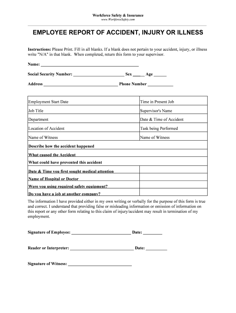 Employee Incident Report Template - Fill Online, Printable For Injury Report Form Template