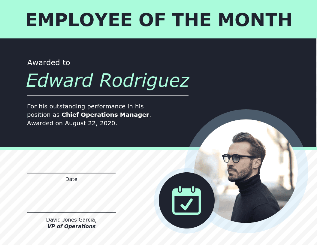 Employee Of The Month Certificate Of Recognition Template in Employee Of The Month Certificate Templates