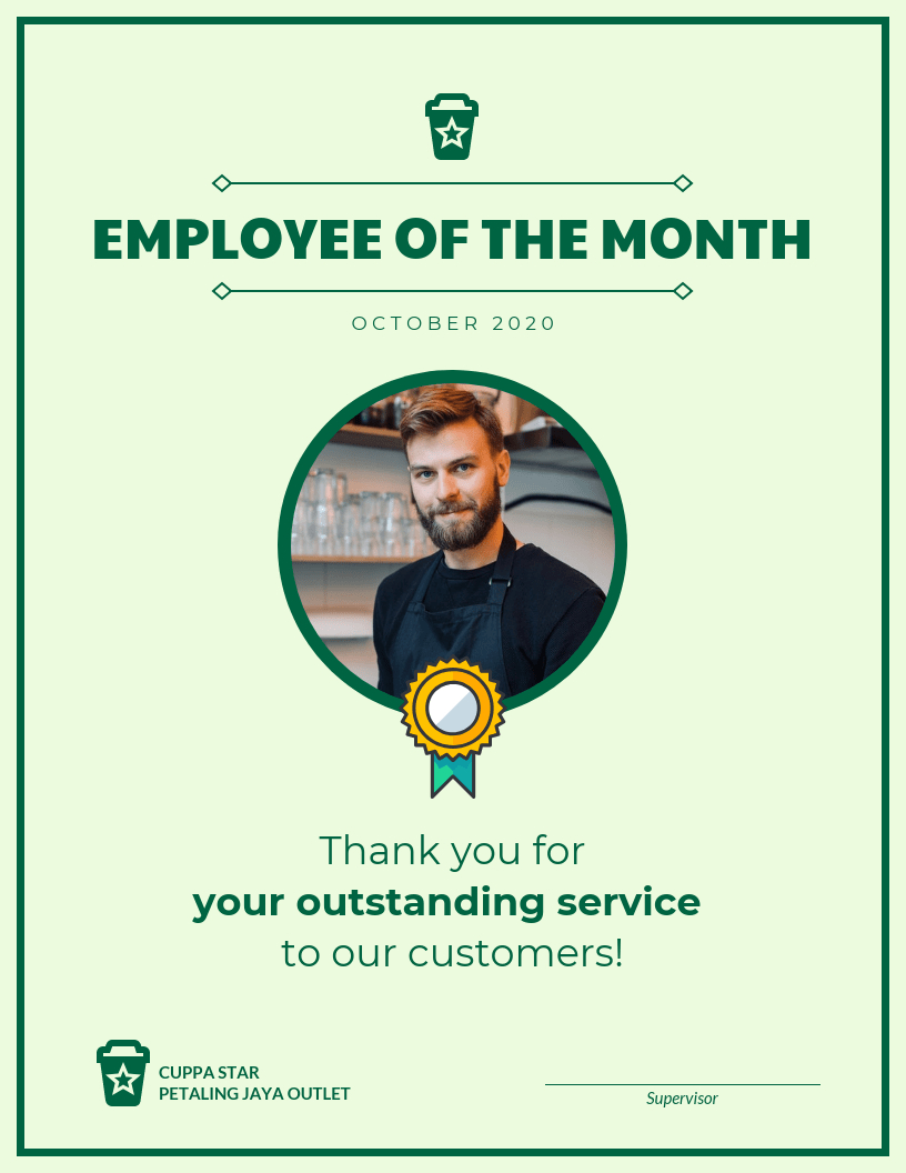 Employee Of The Month Certificate Template pertaining to Employee Of The Month Certificate Templates