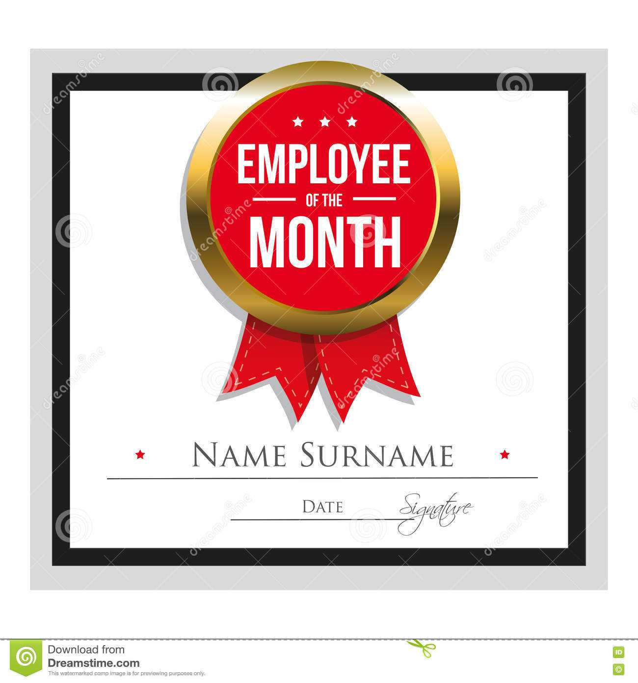 Employee Of The Month Certificate Template Stock Vector pertaining to Employee Of The Month Certificate Templates