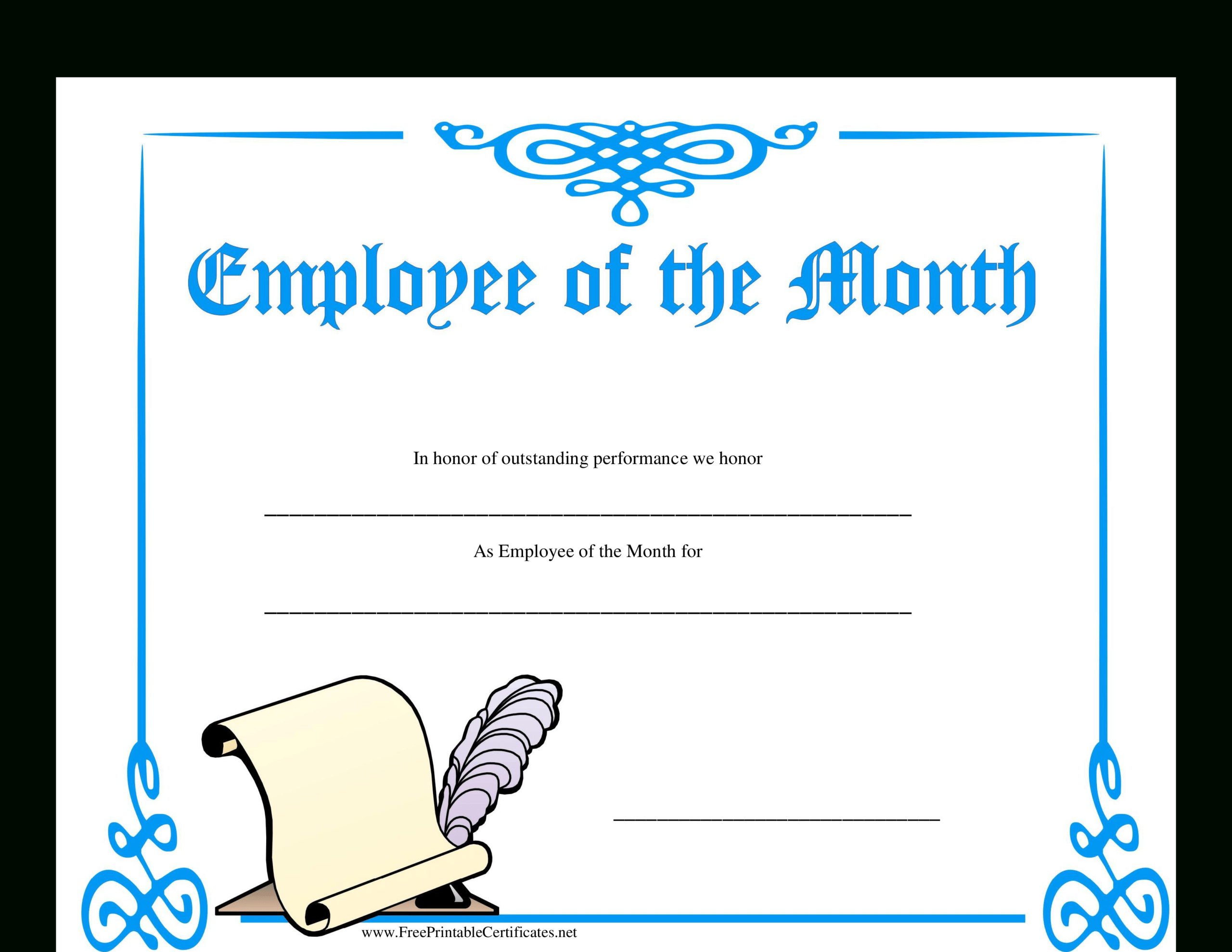 Employee Of The Month Certificate | Templates At with regard to Employee Of The Month Certificate Templates