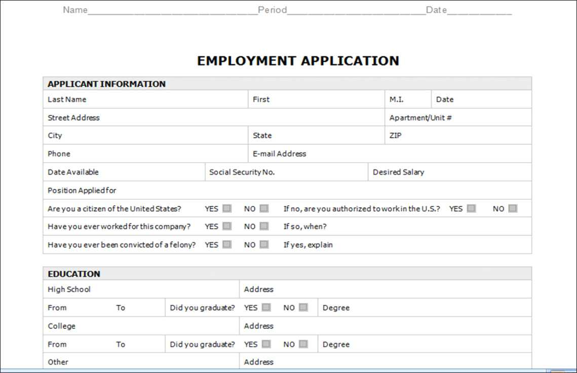 Employment Application Template Microsoft Word Inside Employment Application Template Microsoft Word
