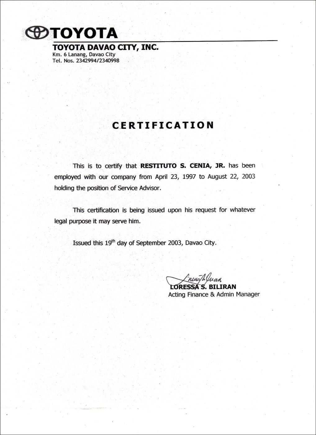 Employment Certificate Sample Best Templates Pinterest in Good Job Certificate Template