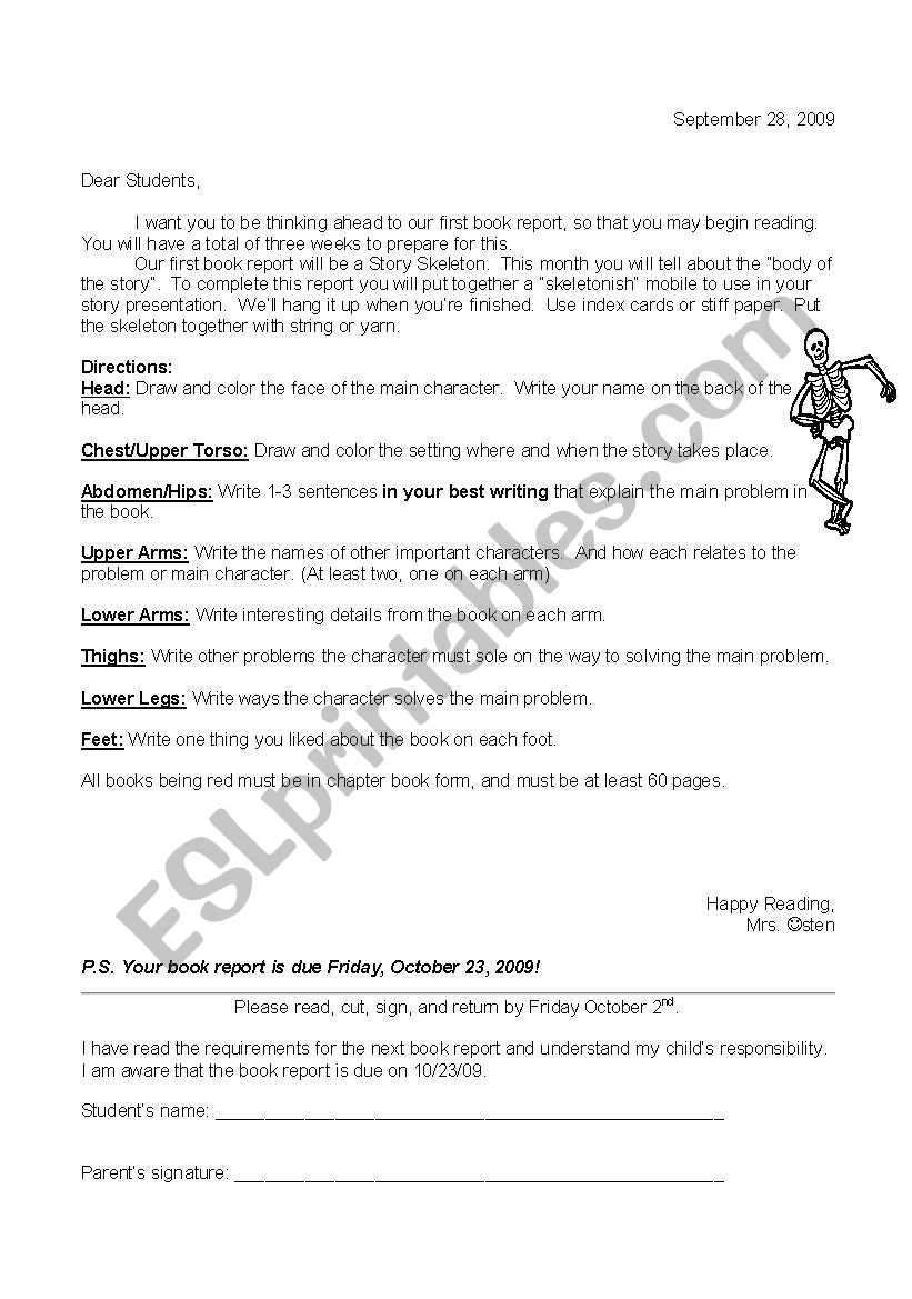 English Worksheets: Story Skeleton Regarding Story Skeleton Book Report Template