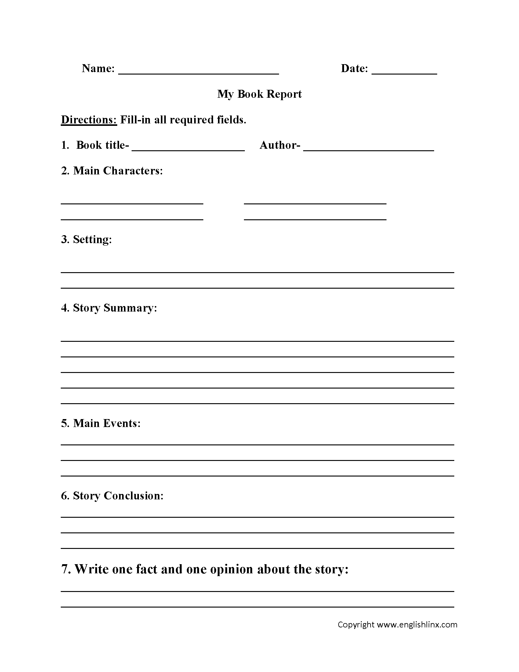Englishlinx | Book Report Worksheets Intended For 6Th Grade Book Report Template