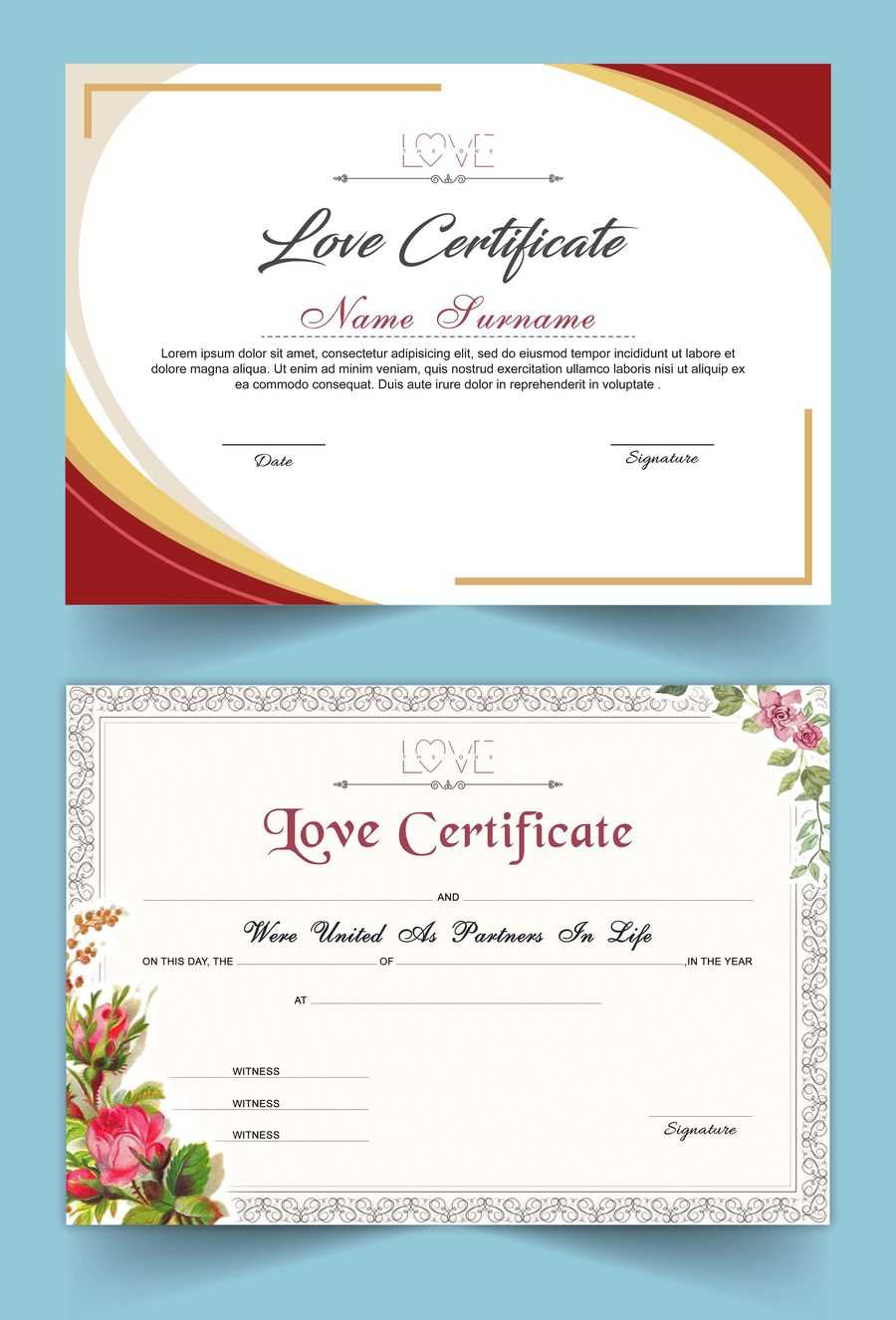 Entry #15Satishandsurabhi For Design A Love Certificate for Love Certificate Templates