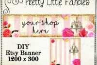Etsy Shop Banner Diy Banner Template Premade Etsy Store Large Banner And  Icon Gold Glitter Digital Roses Chandelier pertaining to Etsy Banner Template