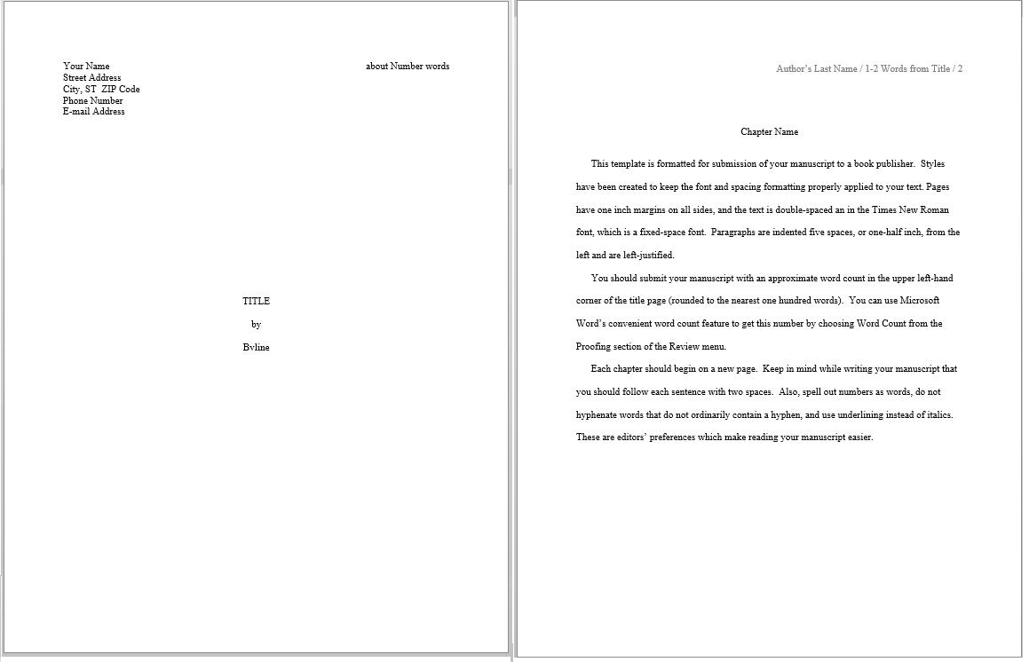 Evaluating Predefined Manuscript Templates In Word – S. K. with regard to How To Create A Book Template In Word