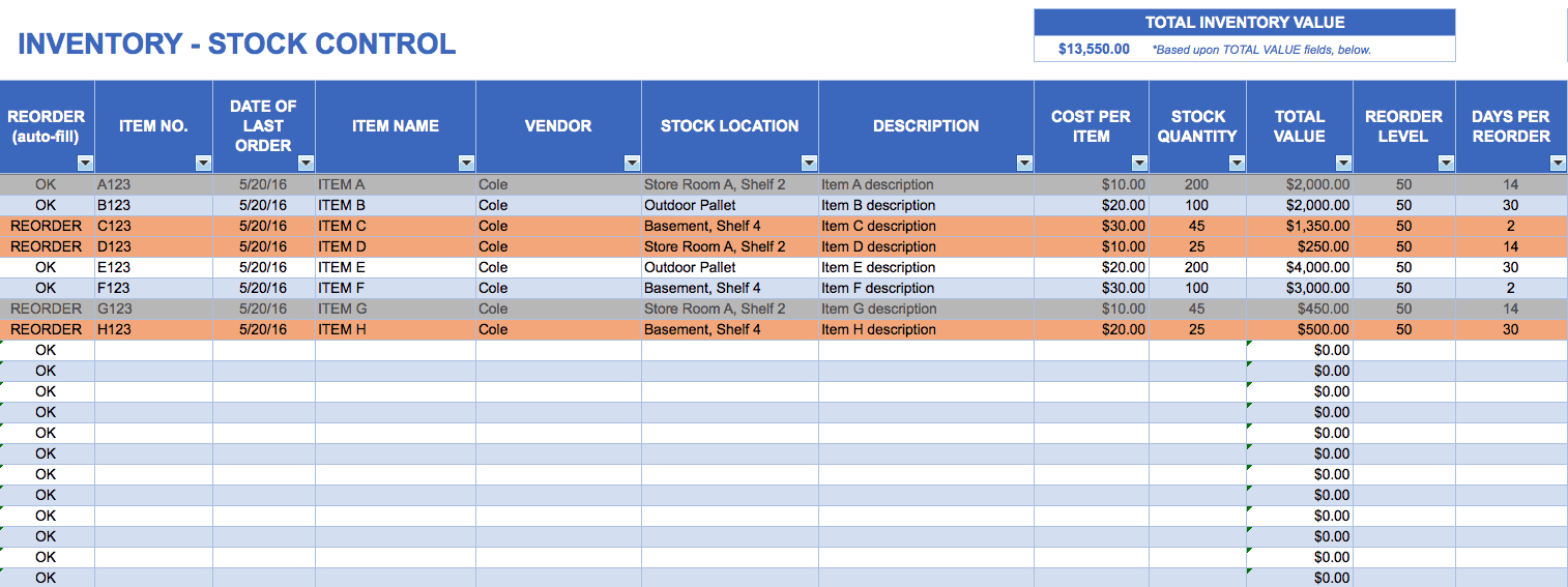 Excel Stock Templates - Magdalene-Project pertaining to Stock Report Template Excel