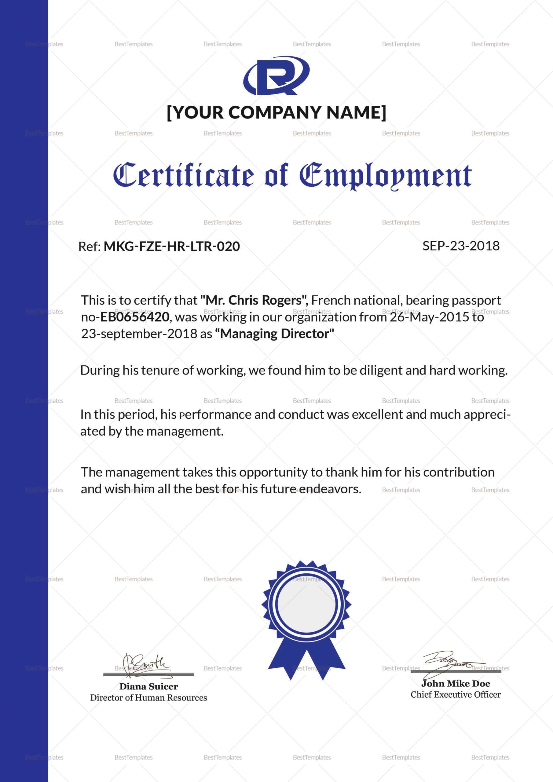 Excellent Employment Certificate Template inside Good Job Certificate Template