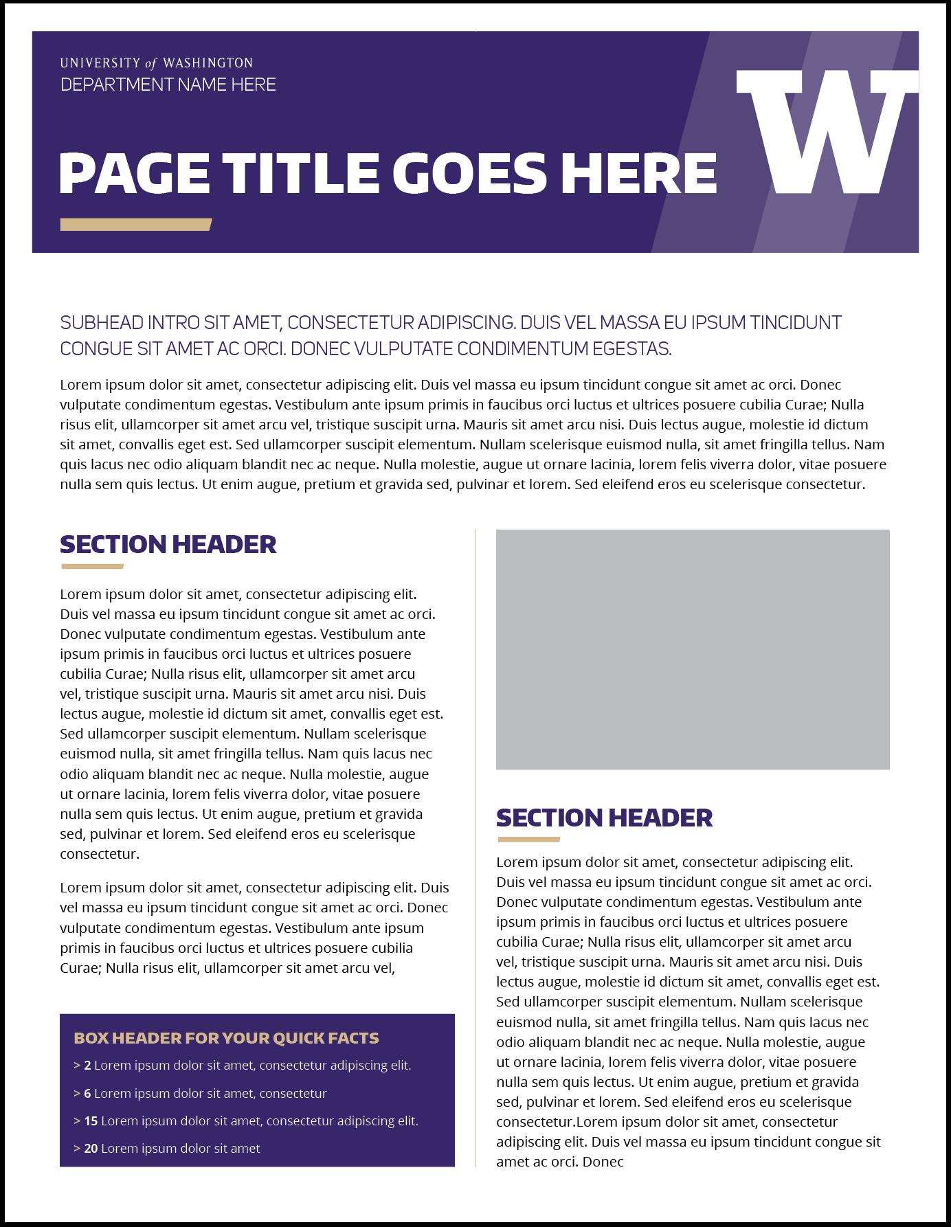Fact Sheet | Uw Brand Throughout Fact Sheet Template Word