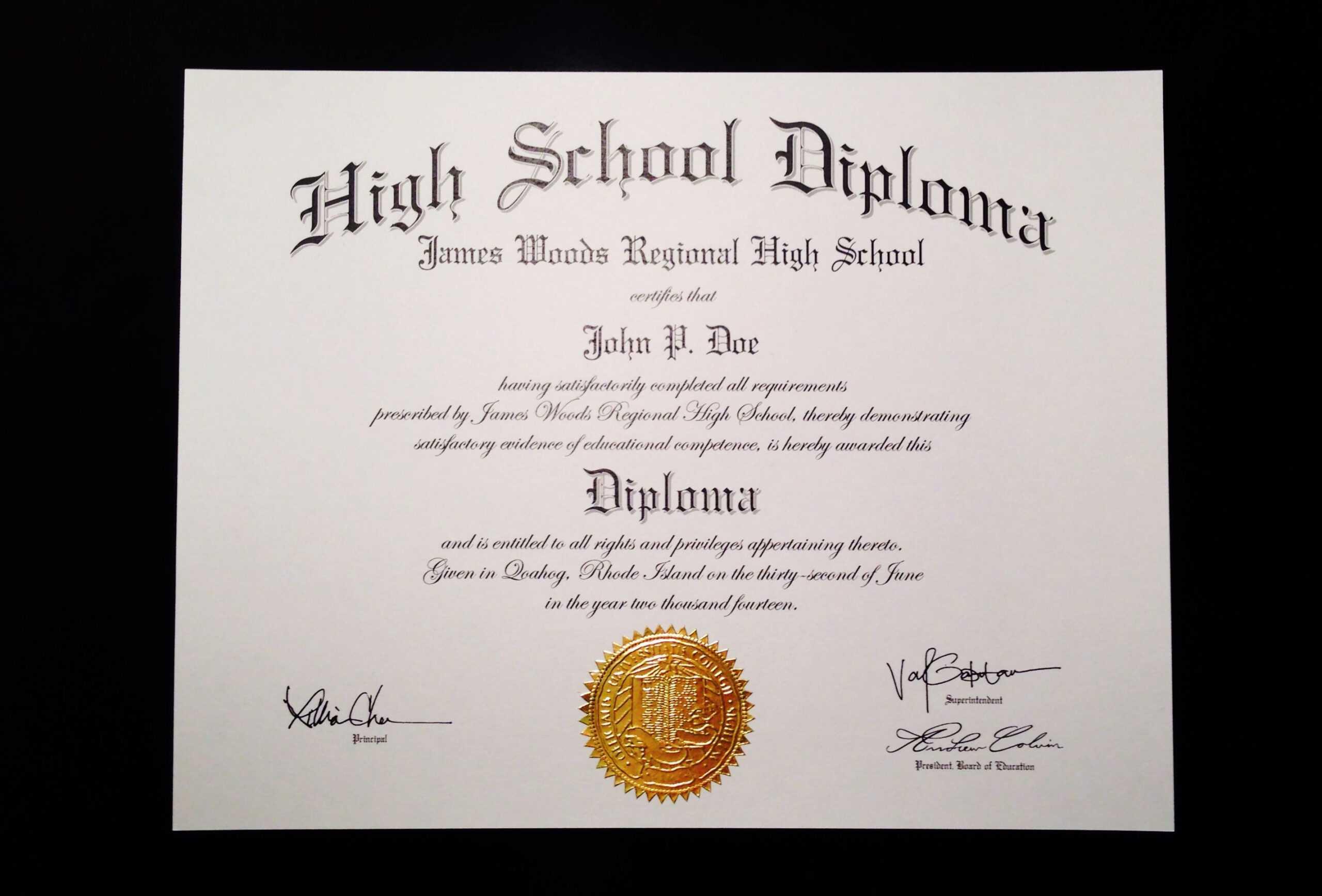 Fake+High+School+Diploma+Template | High School Diploma With Fake Diploma Certificate Template