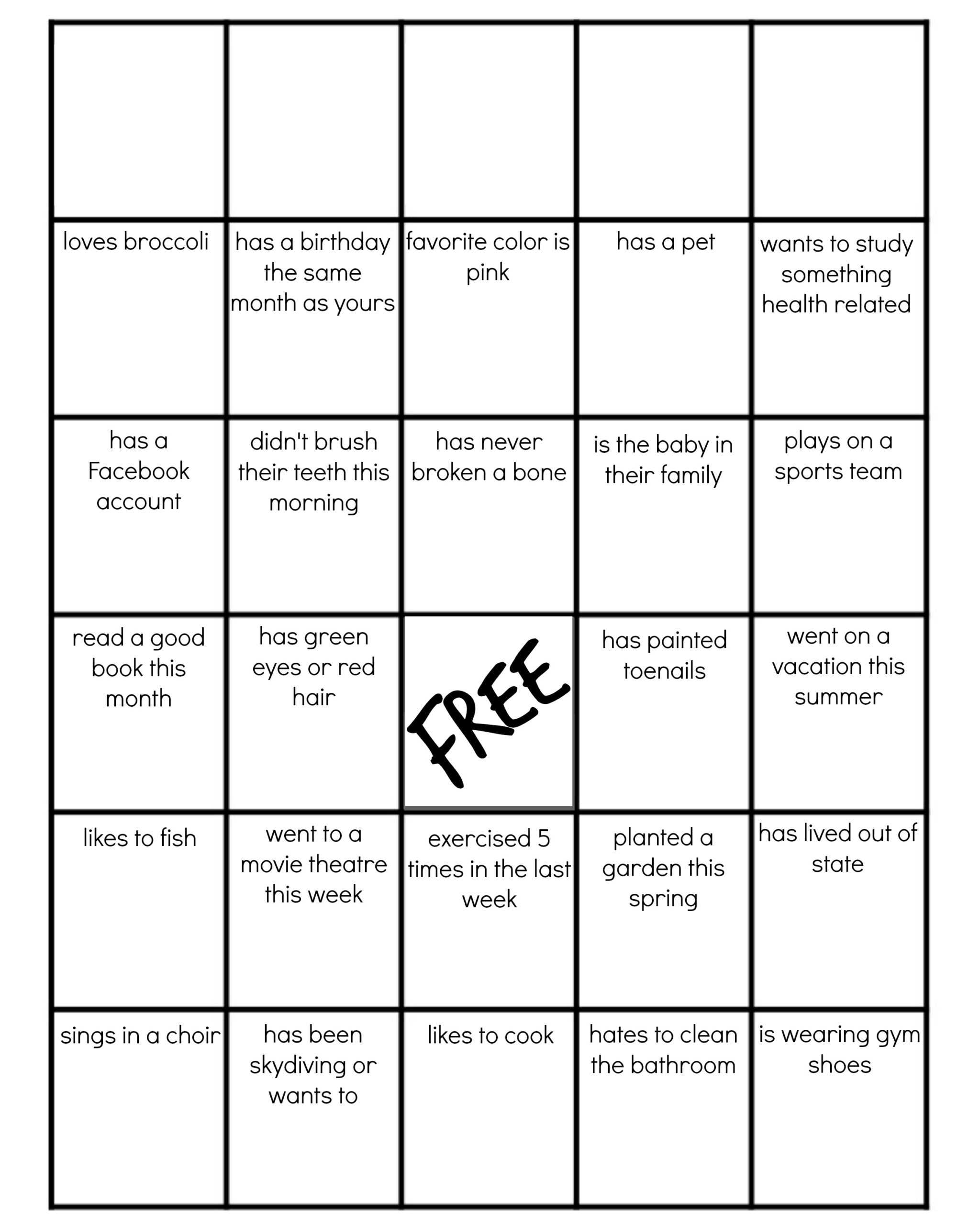 Family Reunion: Get-To-Know-You Bingo intended for Ice Breaker Bingo Card Template