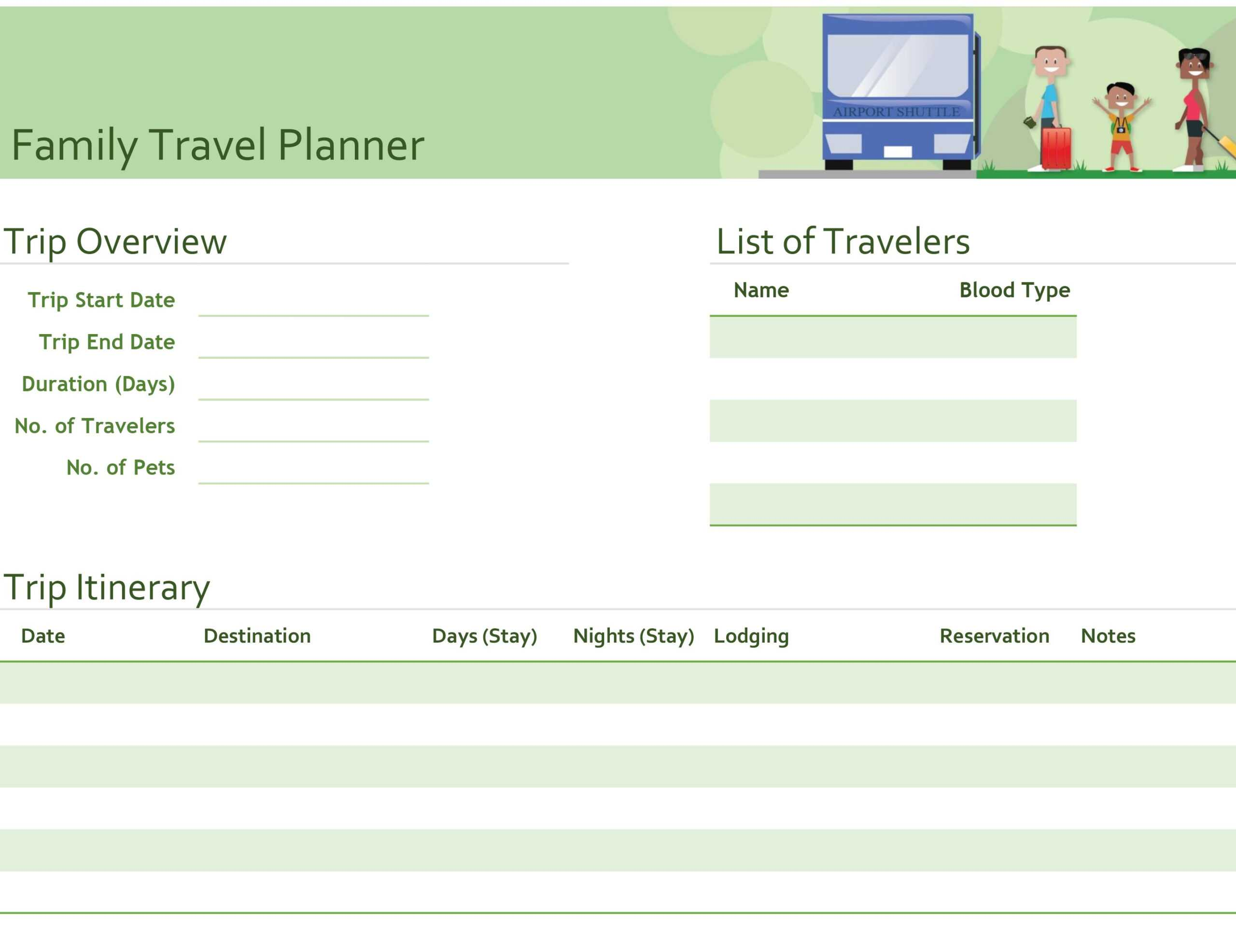 Family Travel Planner in Blank Trip Itinerary Template