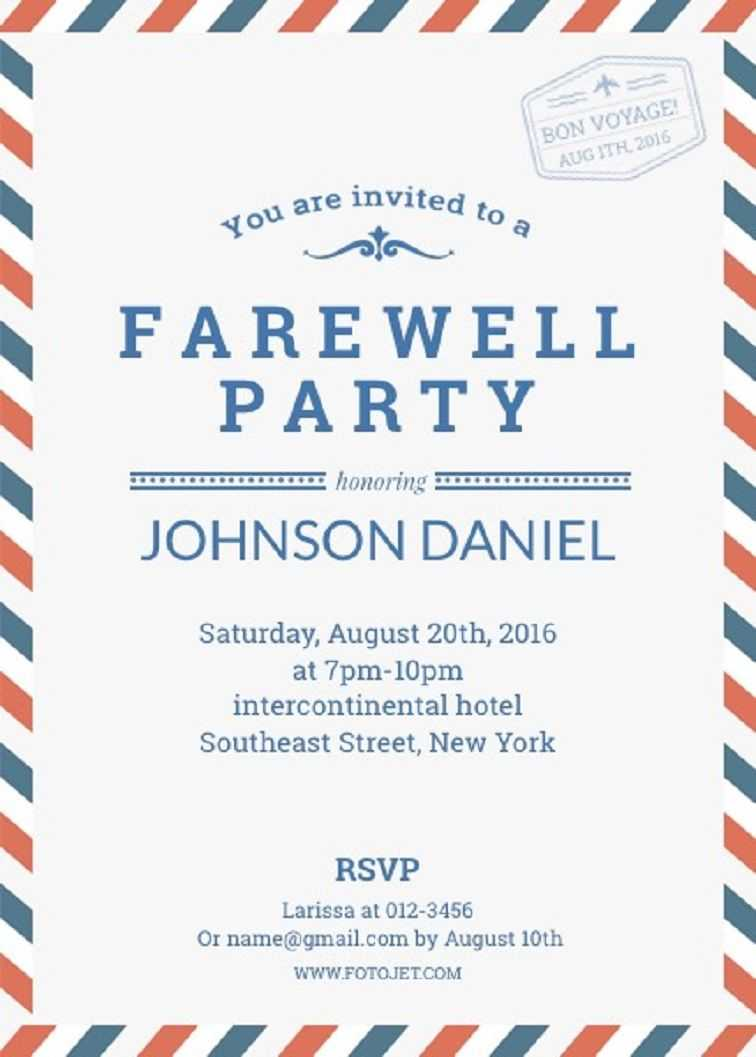 Farewell Party Invitation Template | Farewell Party within Bon Voyage Card Template