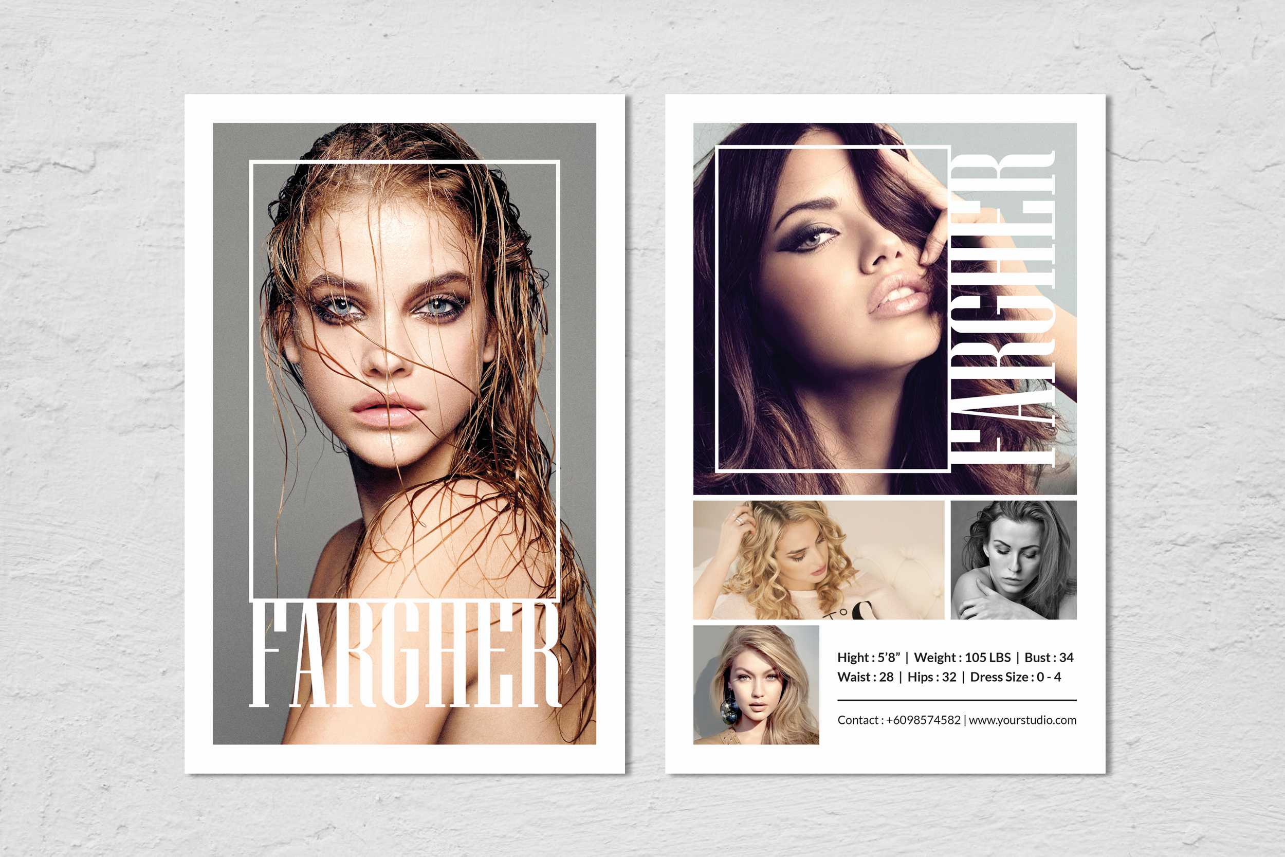 Fashion Modeling Comp Card Template for Free Zed Card Template