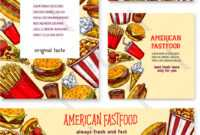 Fast Food American Restaurant Banner Template Set inside Food Banner Template