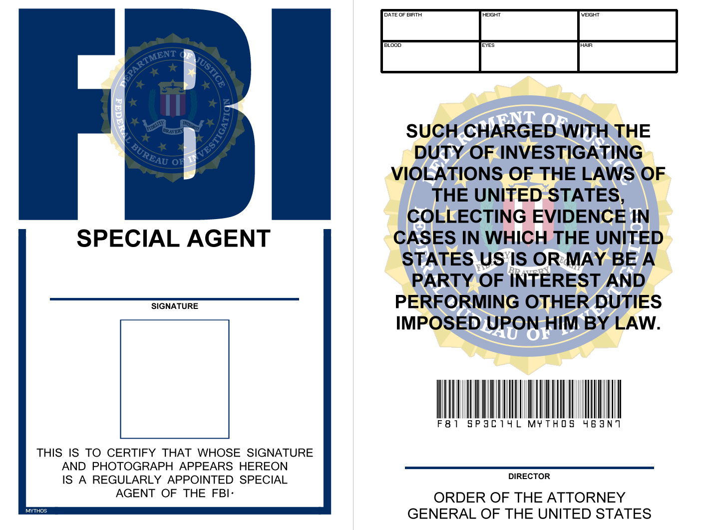Fbi Badge (X Files) | Special Agent, Templates Printable Inside Spy Id Card Template