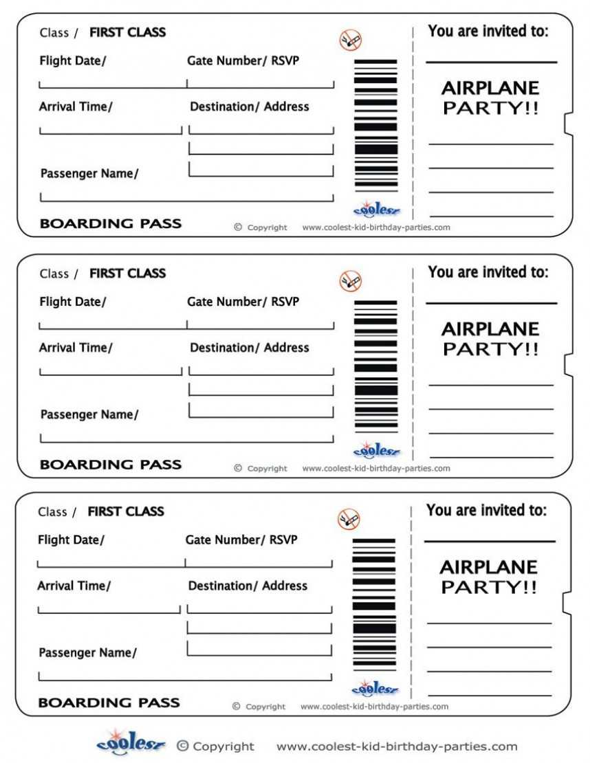 Fearsome Plane Ticket Invitation Template Free Download in Plane Ticket Template Word