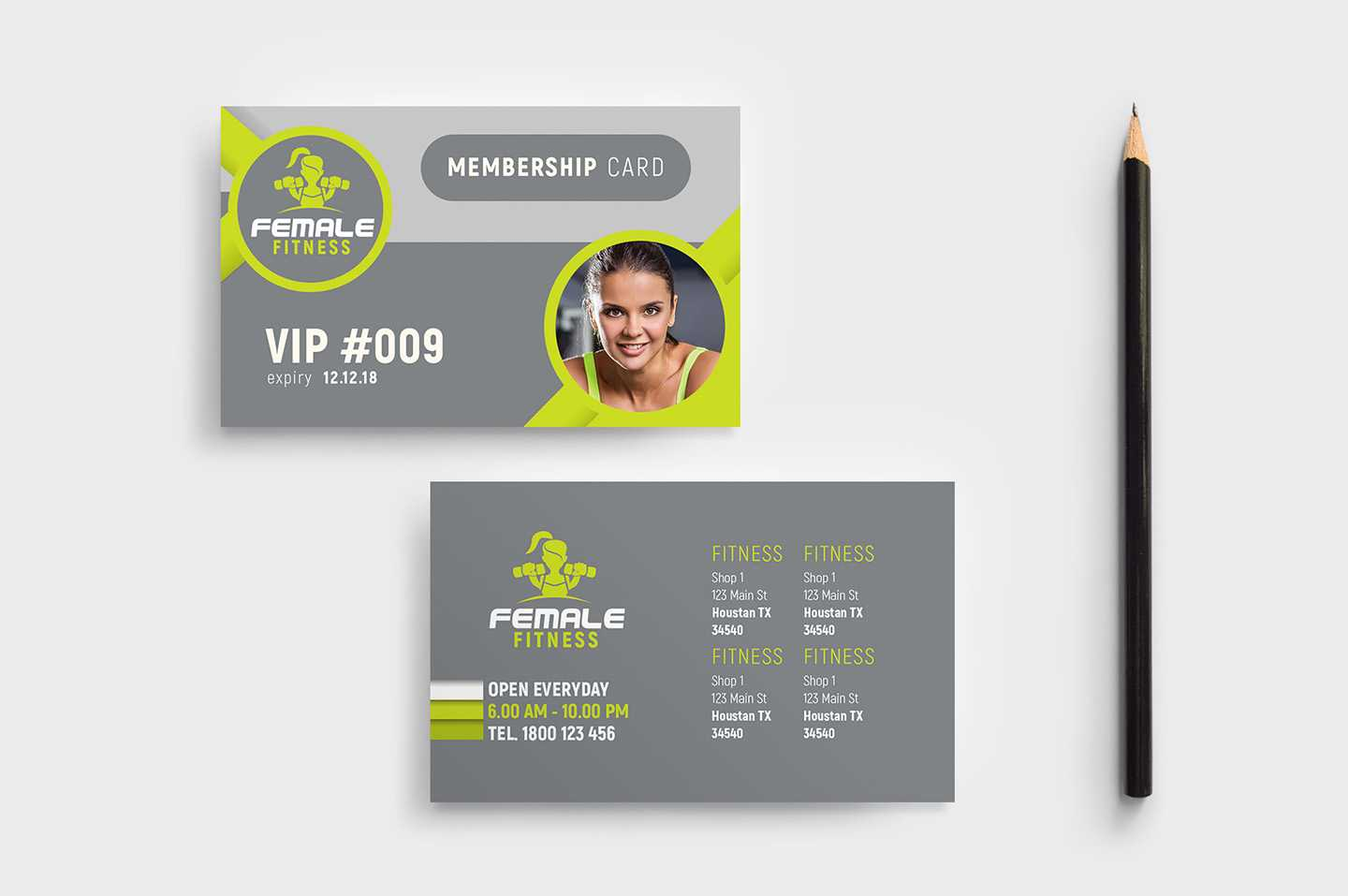 Female Fitness Membership Card Template In Psd, Ai & Vector With Regard To Gym Membership Card Template