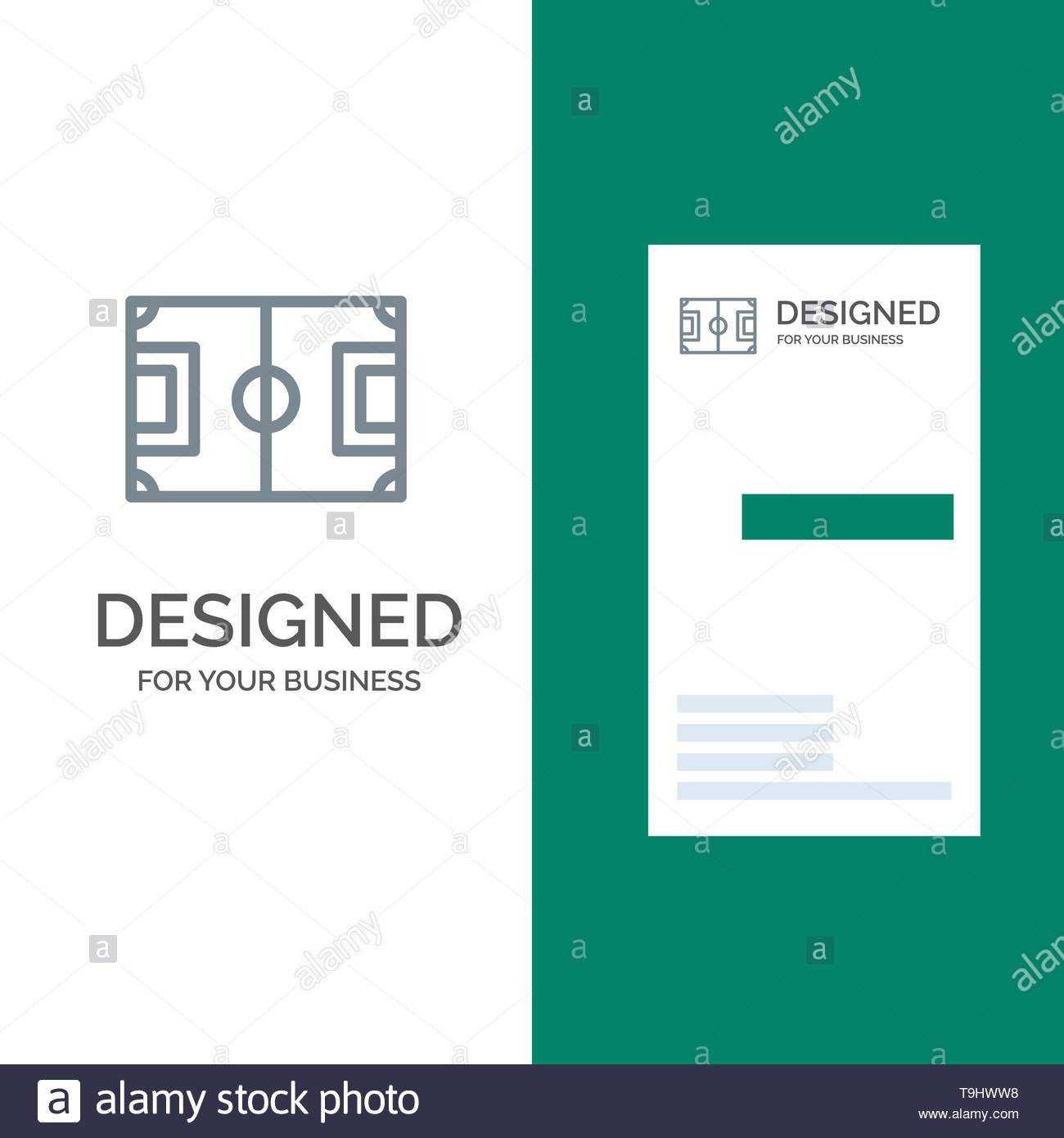 Field, Football, Game, Pitch, Soccer Grey Logo Design And intended for Soccer Referee Game Card Template