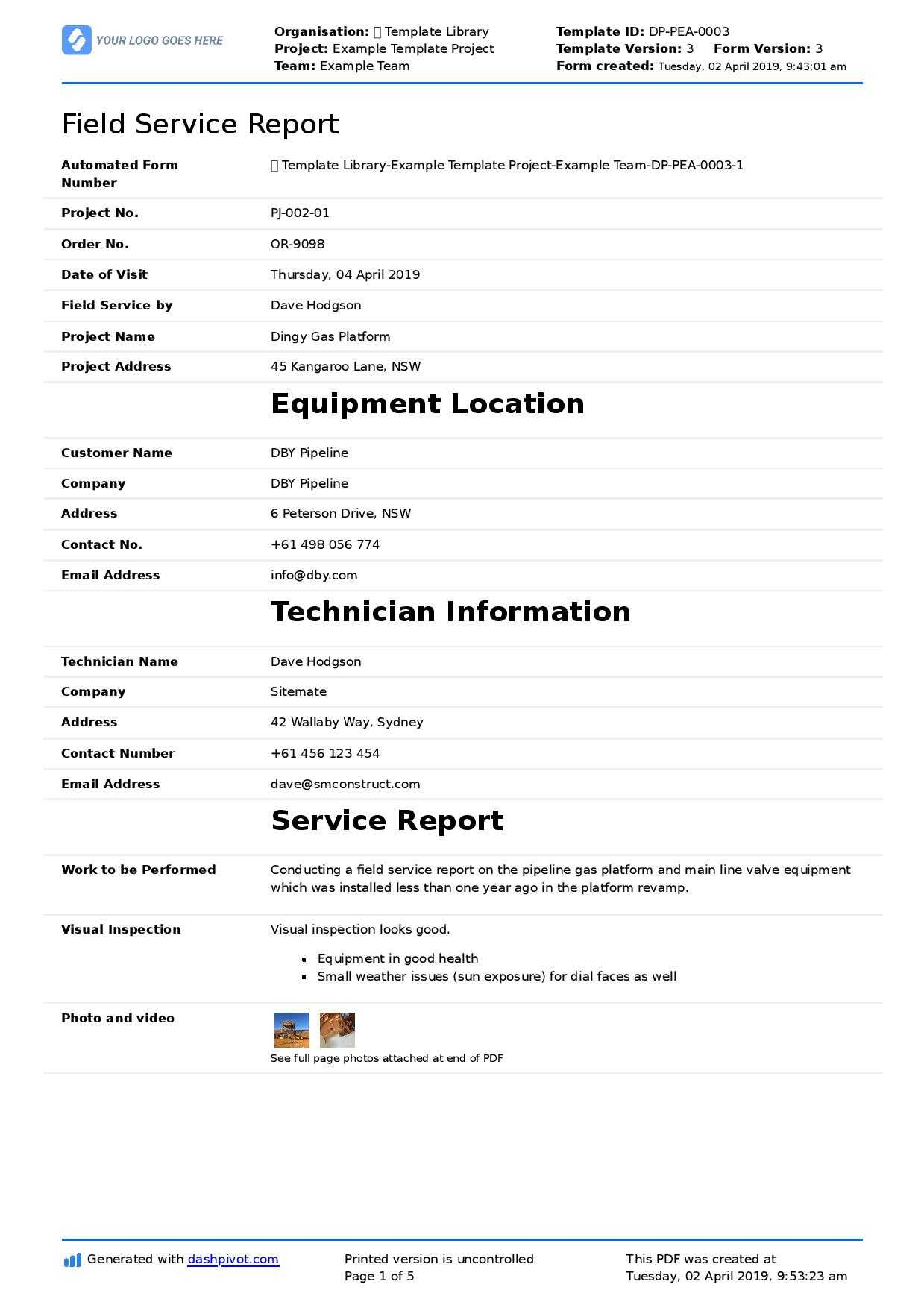 Field Service Report Template (Better Format Than Word inside Report Content Page Template
