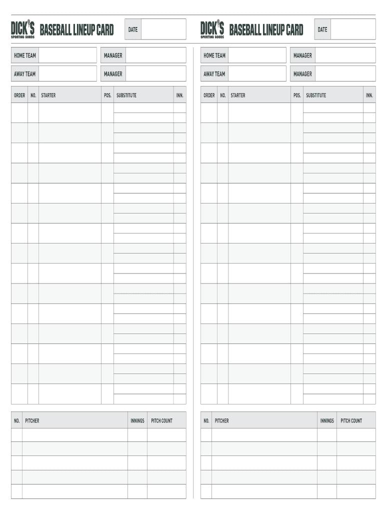 Fillable Online Baseball Lineup Card Baseball Lineup Card with regard to Free Baseball Lineup Card Template