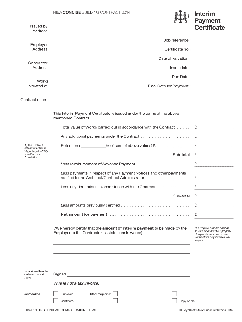 Fillable Online Interim Payment Certificate (.pdf) - Riba inside Certificate Of Payment Template