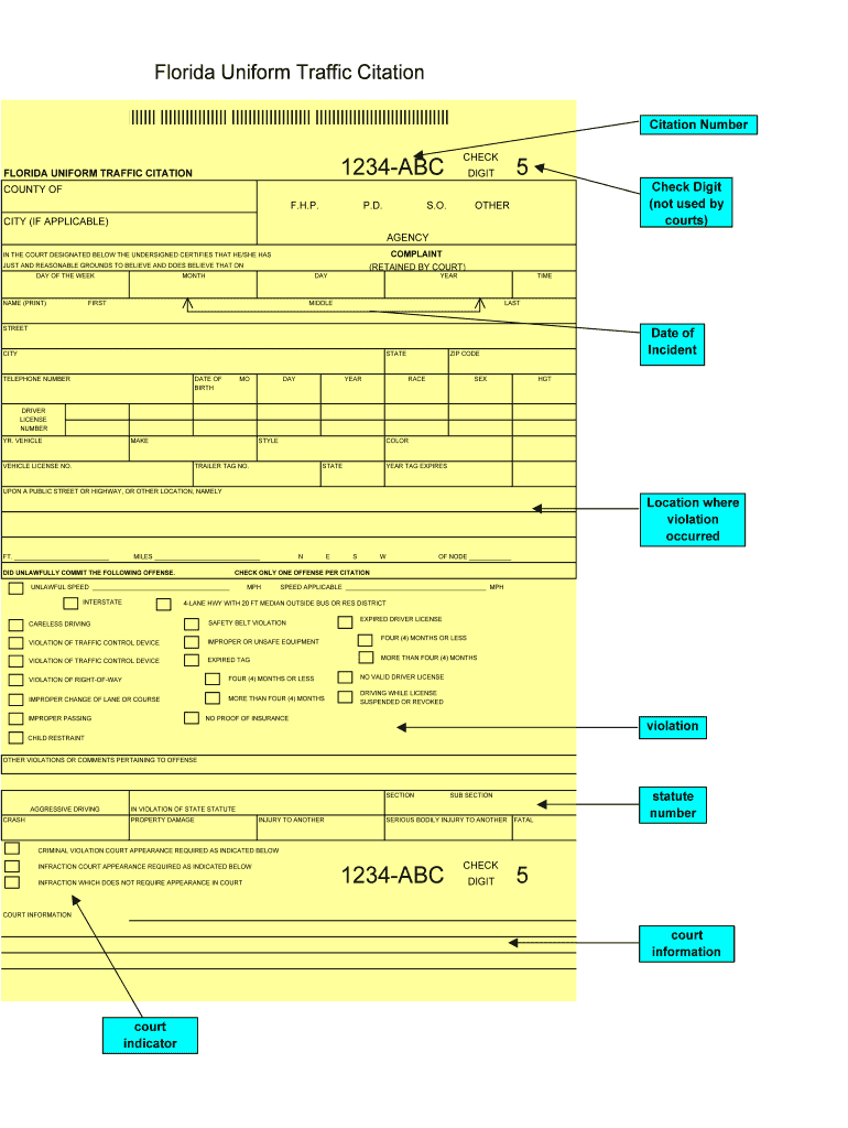 Fillable Traffic Citations – Fill Online, Printable Inside Blank Speeding Ticket Template