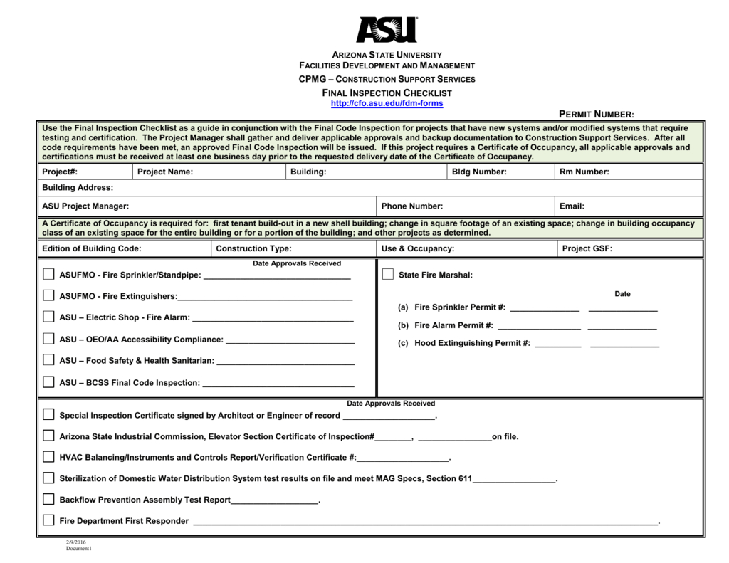 Final Inspection Checklist Throughout Certificate Of Inspection Template