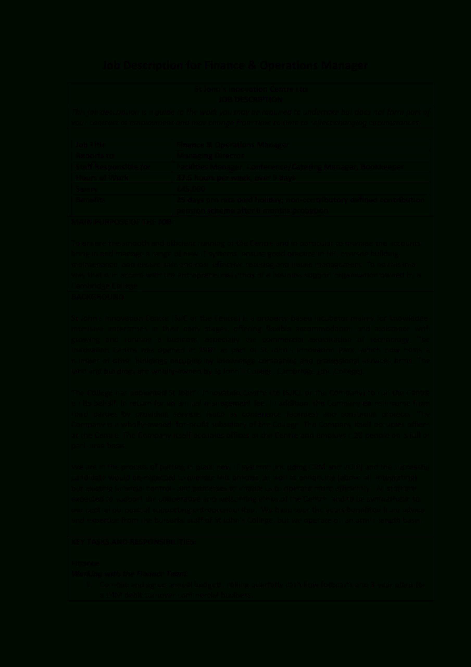 Financial Operations Manager Job Description | Templates At regarding Operations Manager Report Template
