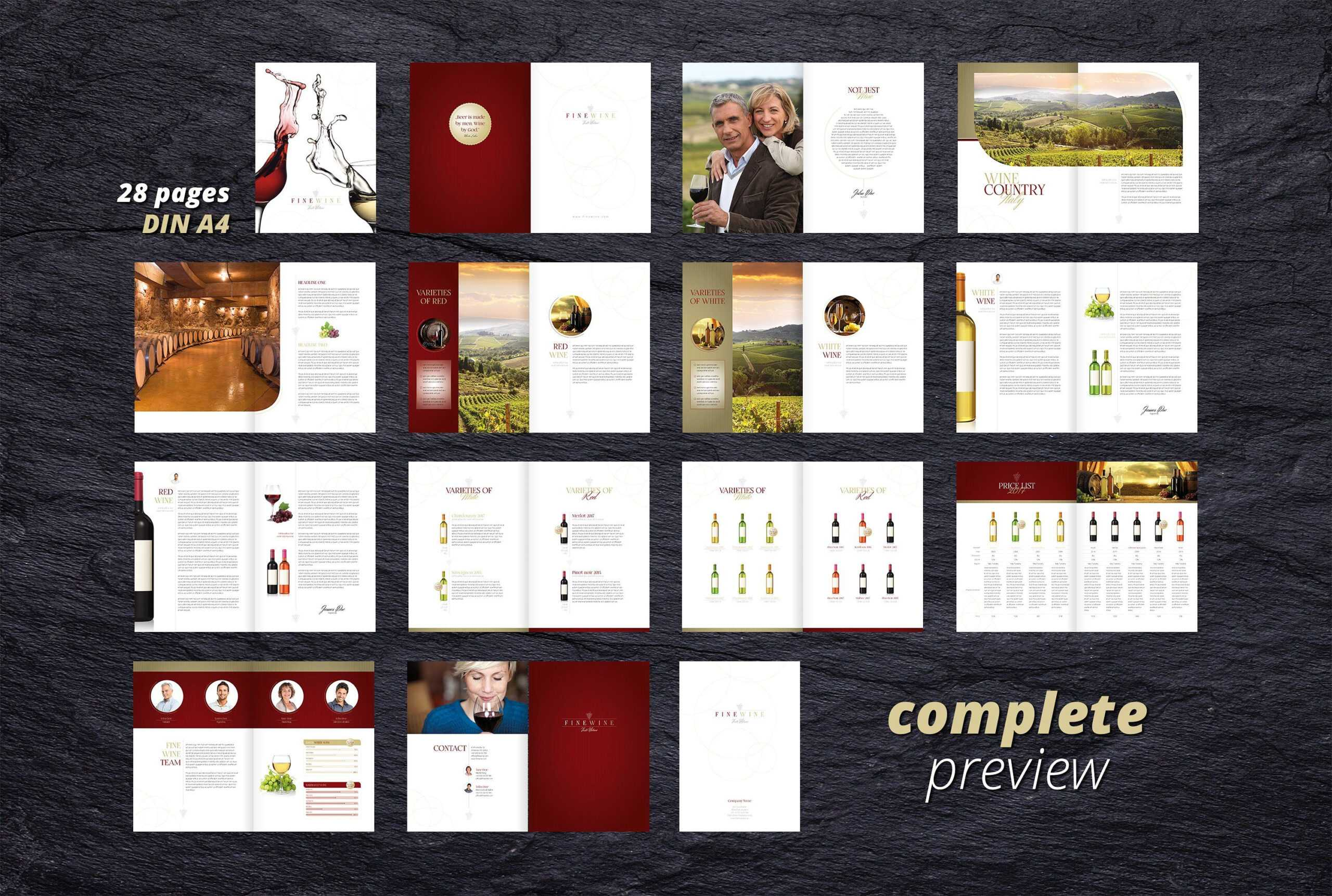 Fine Wine Vol. 1 Brochure #adobe#indesign#compatible#ready pertaining to Wine Brochure Template