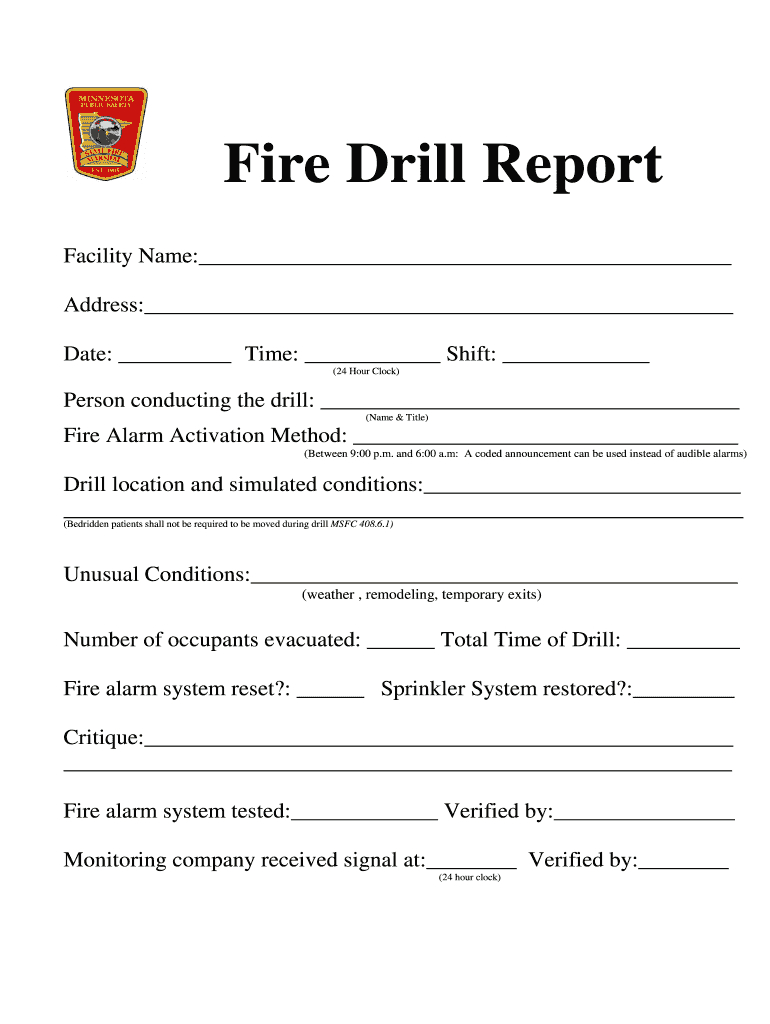 Fire Drill Report Template - Fill Online, Printable Within Fire Evacuation Drill Report Template