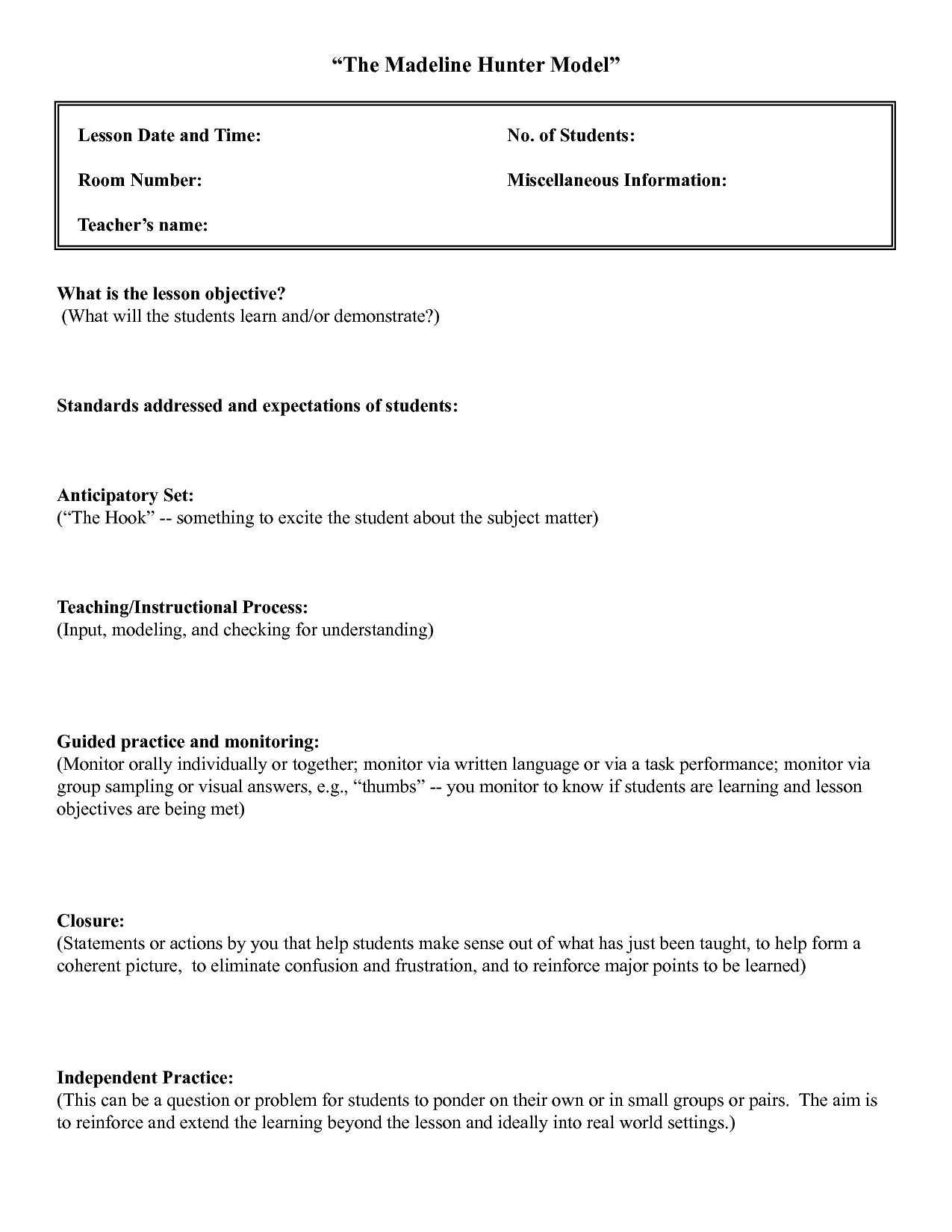 Five Common Mistakes In Writing Lesson. | Lesson Plan With Madeline Hunter Lesson Plan Template Blank
