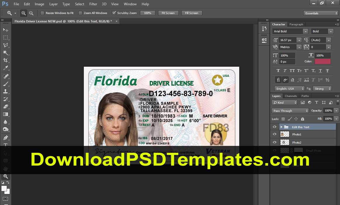 Florida Driver License Psd [Fl New Updated Template] With Florida Id Card Template