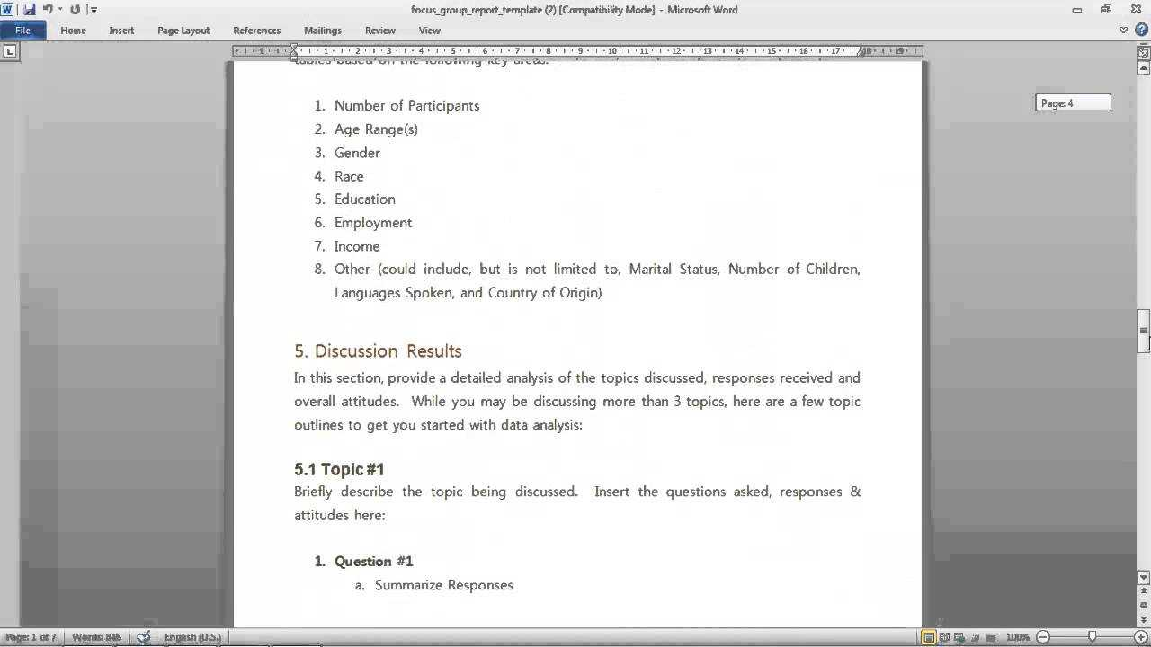 Focus Group Report Template For Focus Group Discussion Report Template