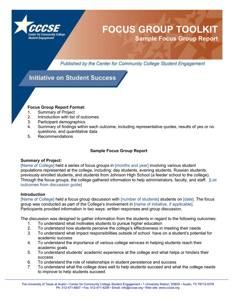 Focus Group Toolkit Sample Focus Group Report With Focus Group Discussion Report Template